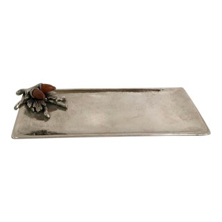 Mud Pie Silver Cracker or Cookie Tray With Figural Acorns For Sale