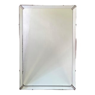 Art Deco Streamlined Mirror With Nickel Fittings For Sale