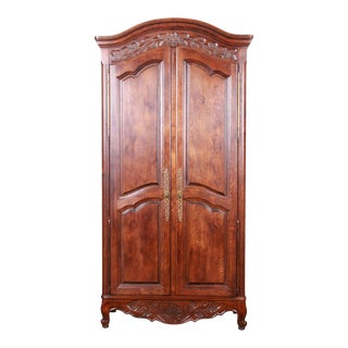 French Provincial Louis XV Oak Armoire by Hickory For Sale