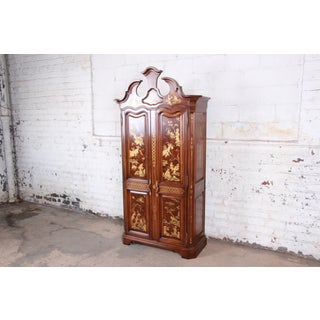Karges Burl and Cherry Wood Hollywood Regency Chinoiserie Armoire Dresser Preview