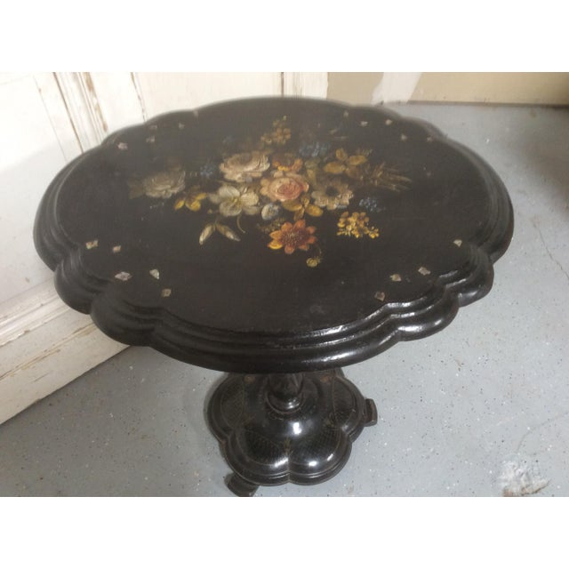 Blue Antique Victorian Papier-Mâché Tilt Top Table For Sale - Image 8 of 13