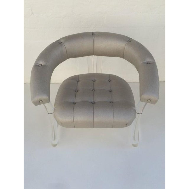 1970s Pair Sculpted Acrylic Armchairs For Sale - Image 5 of 10