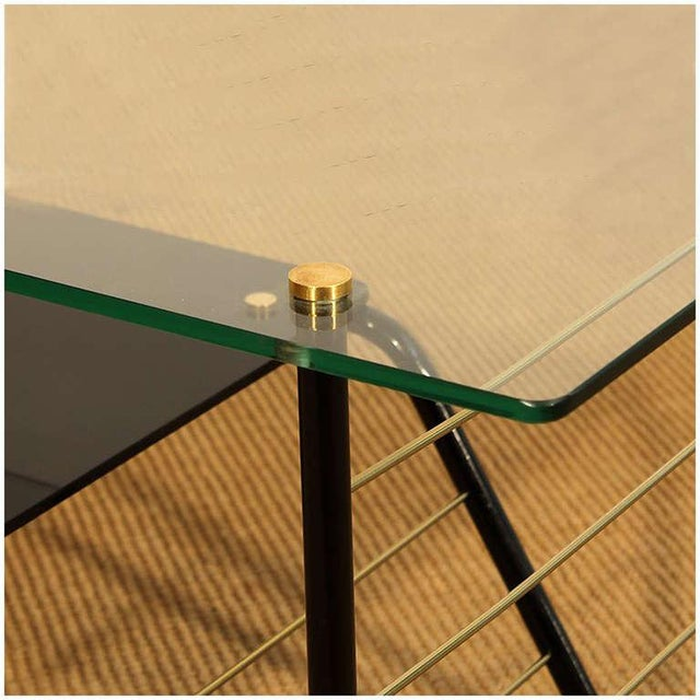Metal 1960s Coffee Table by Pierre Guariche, Metal, Glass, Opaline, Brass - France For Sale - Image 7 of 8