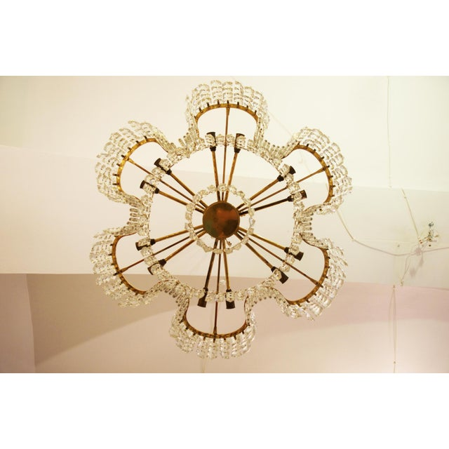 Brass Large Chandelier of Cut Crystal by JL Lobmeyr for Lobmeyr, 1950 For Sale - Image 7 of 11