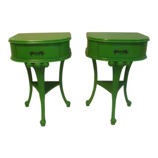 Painted Nightstands Side Tables Prince of Wales Feather Plumes - a Pair For Sale