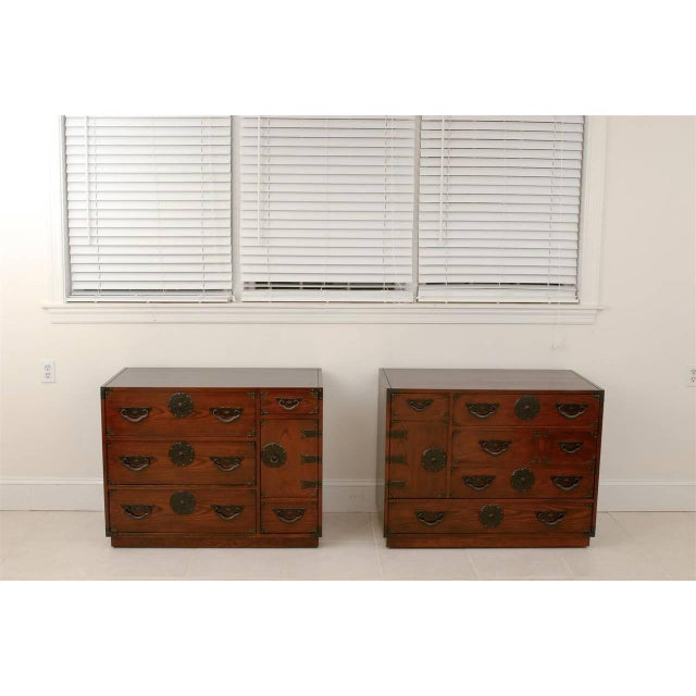 Asian Amazing Pair of Vintage Modern Tansu Chests by Baker For Sale - Image 3 of 10