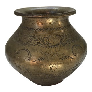 Vintage Boho Chic Brass Vase For Sale