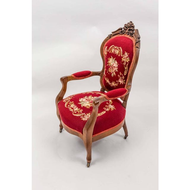 American Victorian child's chair in original needlepoint.