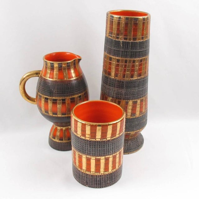 Fratelli Fanciullacci Mid-Century Italian Sgrafitto Pottery Vase - 3 Pieces - Image 2 of 11