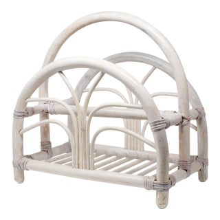 Vintage Whitewashed Rattan Magazine Rack For Sale