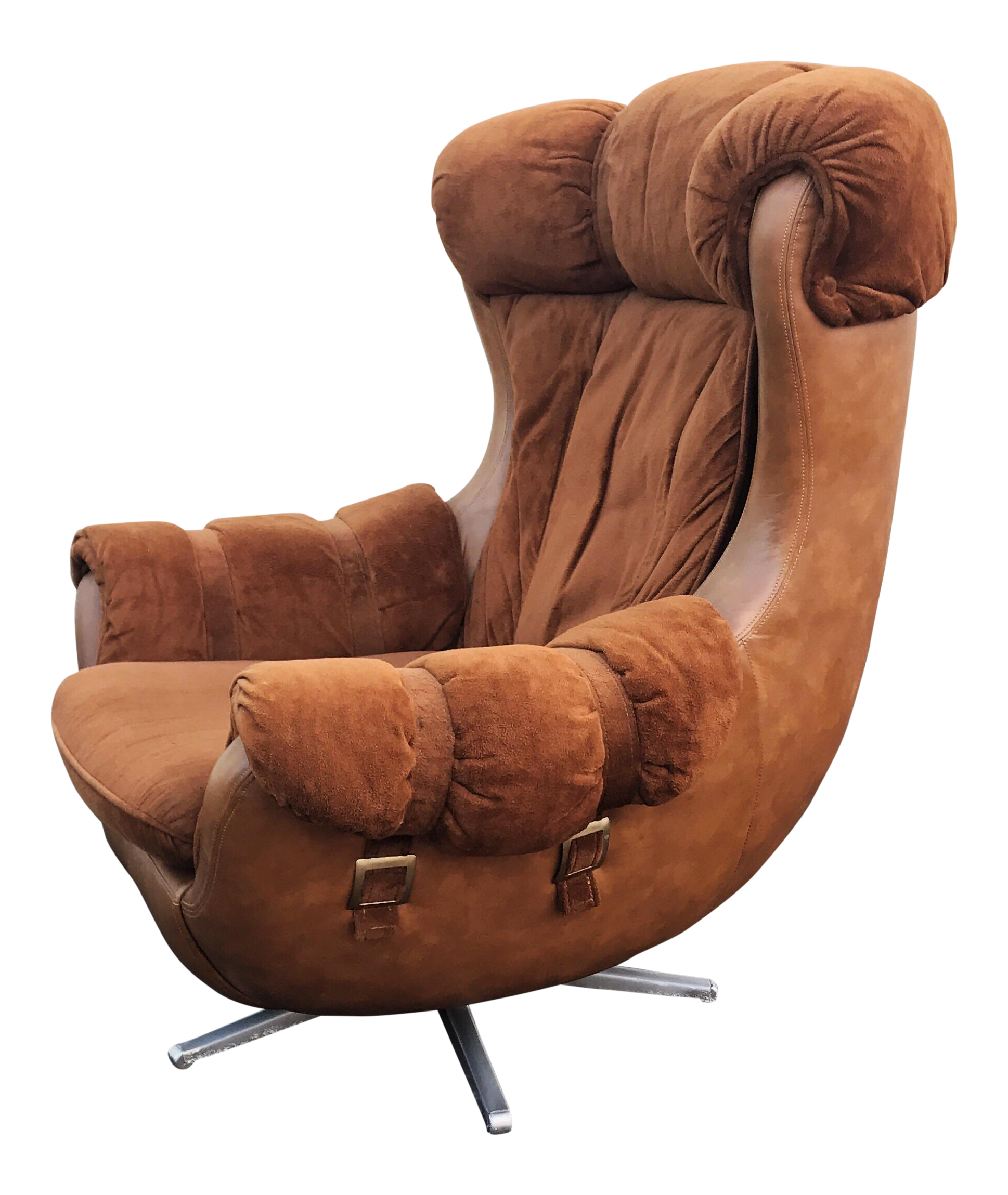Mid Century Faux Leather Egg Chair
