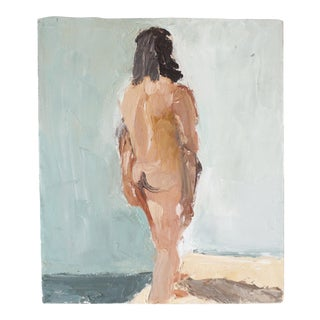Vintage Original Nude Oil Painting Silhouette of a Woman Art Wall Decor Art