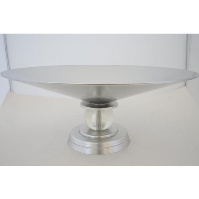 """1930s Vintage Art Deco 1934 Kensington for Lurelle Guild """"Stratford"""" Compote in Aluminum and Glass For Sale - Image 5 of 12"""