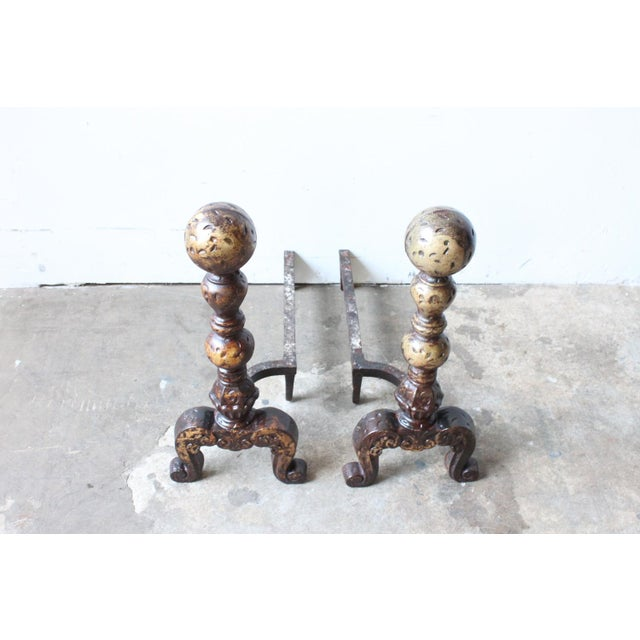 Vintage Brass Andirons - A Pair - Image 3 of 4