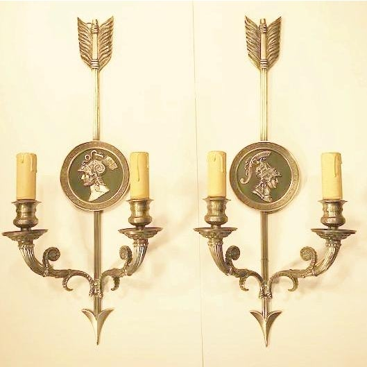 """Figurative """"Maison Charles Paris"""" - a Pair of 20th CenturyFrench Directoire Style 2-Lite Sconces, For Sale - Image 3 of 7"""