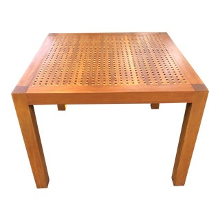 Summit Furniture Teak Square With Grate Top Dining Table For Sale