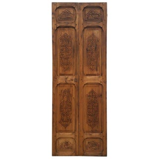 1980s Moroccan Carved Wooden Door-Double Panel