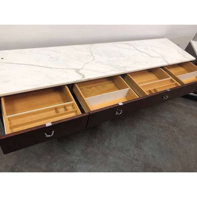 Chrome 1960s Mid-Century Modern Florence Knoll Rosewood and Marble Credenza Ensemble - 2 Pieces For Sale - Image 7 of 13