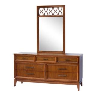Mid-Century Walnut Style Credenza With Lenoir Mirror