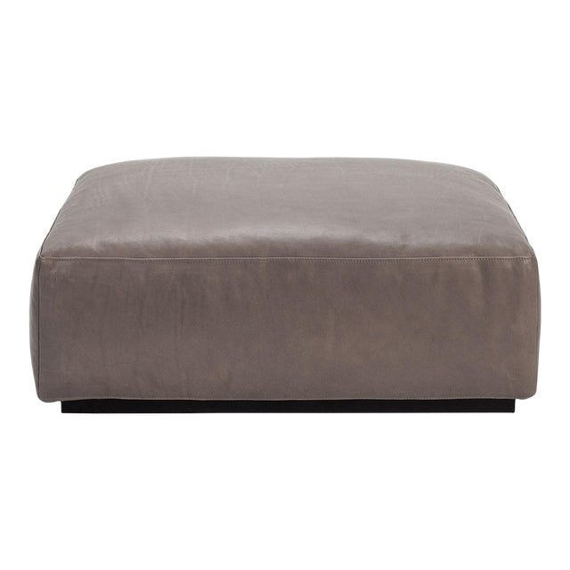 Taupe Open Pore Leather Mex Cube Ottoman Cassina For Sale