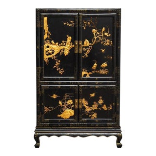 Chinese Export Gilt Lacquered Cabinet on Stand For Sale