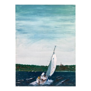 Vintage Sailboat Painting For Sale