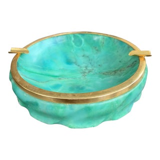 Vintage Italian Green Marble and Brass Ashtray For Sale