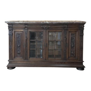 19th Century French Louis XIV Marble Top Sideboard For Sale
