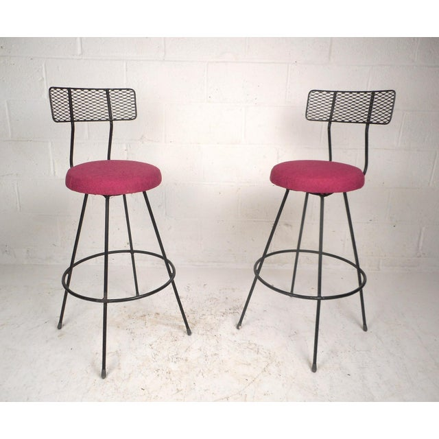 Fabric Pair of Vintage Modern Swivel Bar Stools For Sale - Image 7 of 7