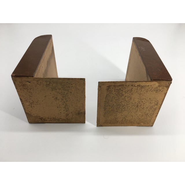 Vintage Mid 20th Century Faux Leather Bookends - a Pair For Sale In Greenville, SC - Image 6 of 8