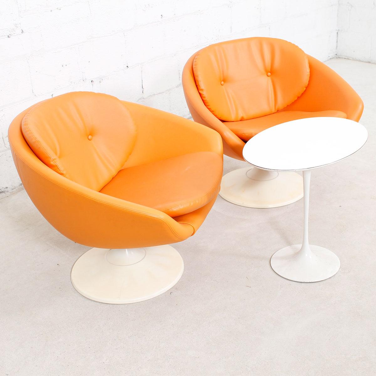 Beautiful S Orange Swivel Pod Chairs By Overman Sweden Pair Image Of With  Overman Furniture