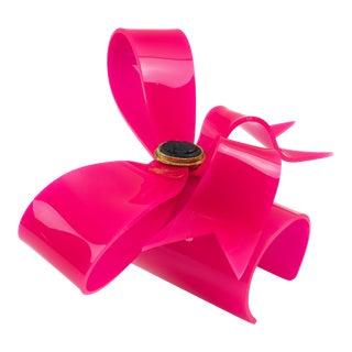 Vivienne Westwood Cuff Bangle Bracelet Unique Prototype Runway Pink Acrylic Bow For Sale
