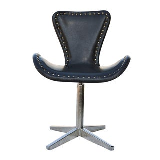 Leather and Chrome Swivel Chair For Sale