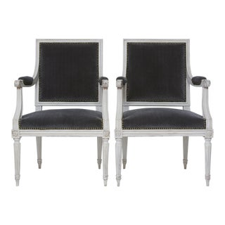 Vintage Louis XVI Style Upholstered Armchairs - a Pair