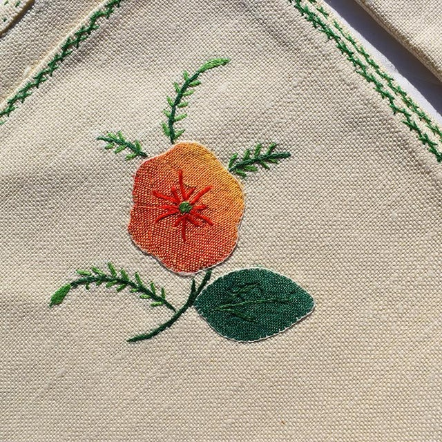 Cream Hand Embroidered Floral Cloth Dinner Napkins in Blue Green Pink Orange - Set of 6 For Sale - Image 4 of 7