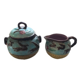 Antique Majolica Creamer and Sugar