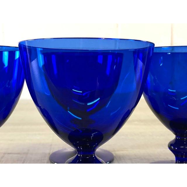 Mid-Century Modern Vintage Cobalt Glass Goblets, Set of 4 For Sale - Image 3 of 7
