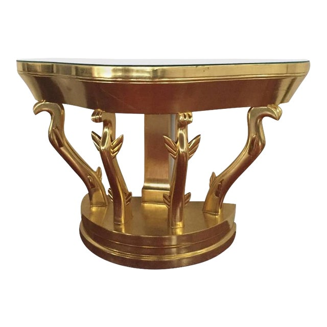 Mid-Century Gold Console Table with Glass Top - Image 1 of 5