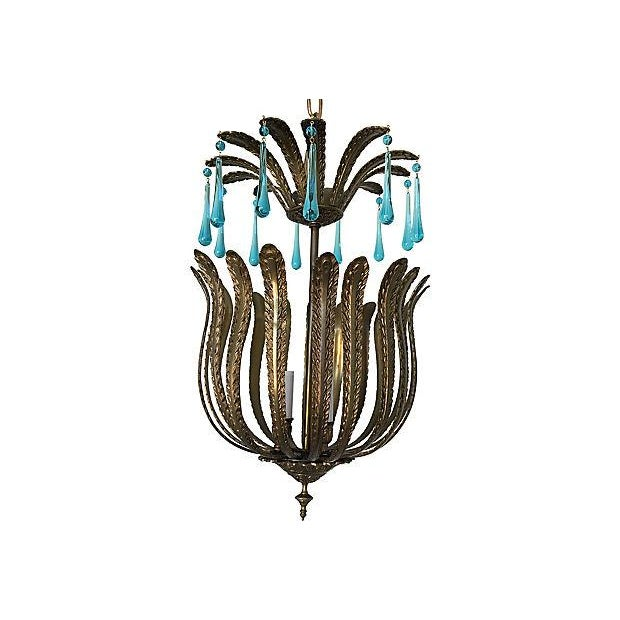 Mid-Century Brass Acanthus Lantern Chandelier - Image 2 of 6