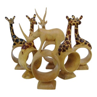 African Wood Napkin Rings, Set of 6 For Sale