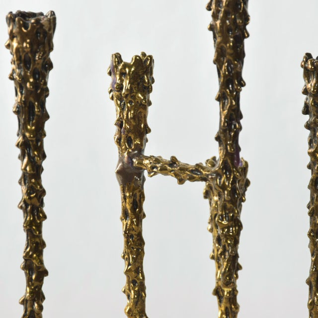 1970s Midcentury Modern Brutalist Tiered Brass Candle Holder For Sale - Image 5 of 11