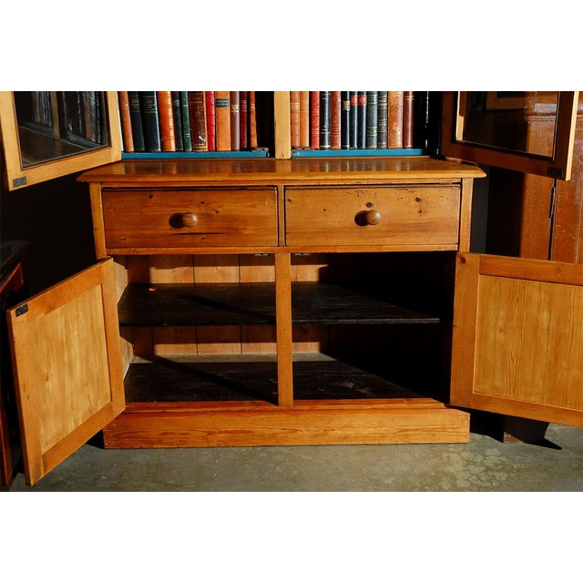 Glass Pine Bookcase Cupboard with Drawers For Sale - Image 7 of 7