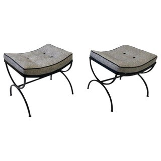 Black Sculptura Ottomans by Woodard - a Pair For Sale