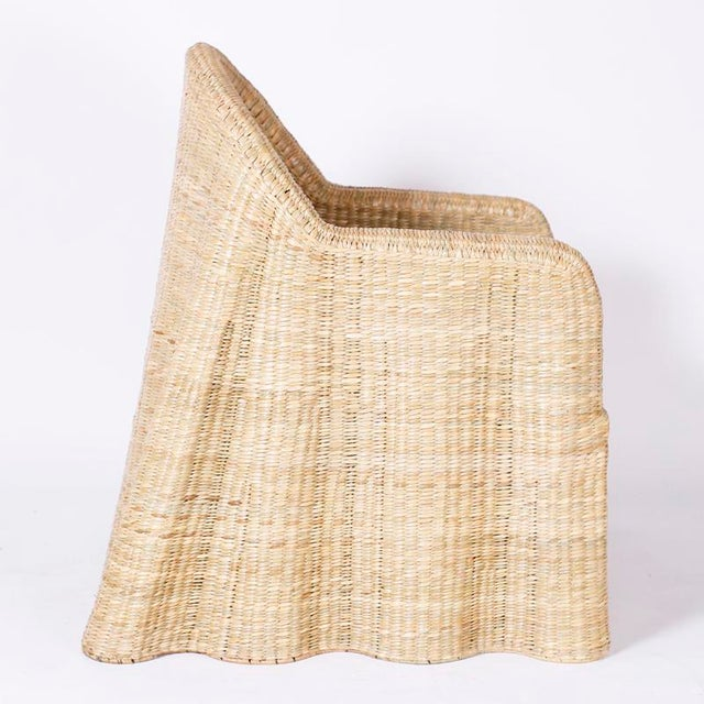 Wicker Drapery Ghost Arm Chairs - a Pair For Sale In West Palm - Image 6 of 11