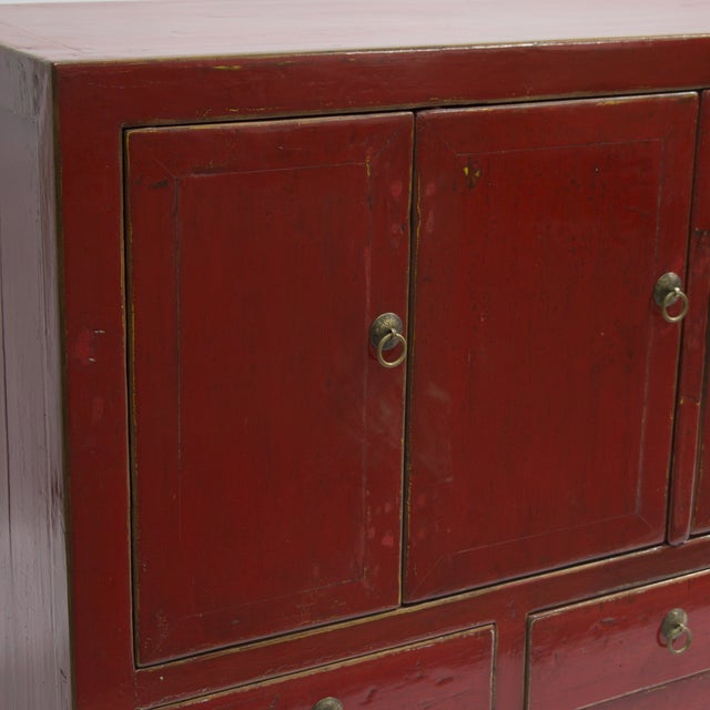 Antique Gansu Red Chinese Elm Wood Cabinet - Image 3 of 3