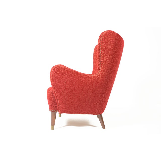 Danish Modern Crimson Frieze Club Chair - Image 5 of 11
