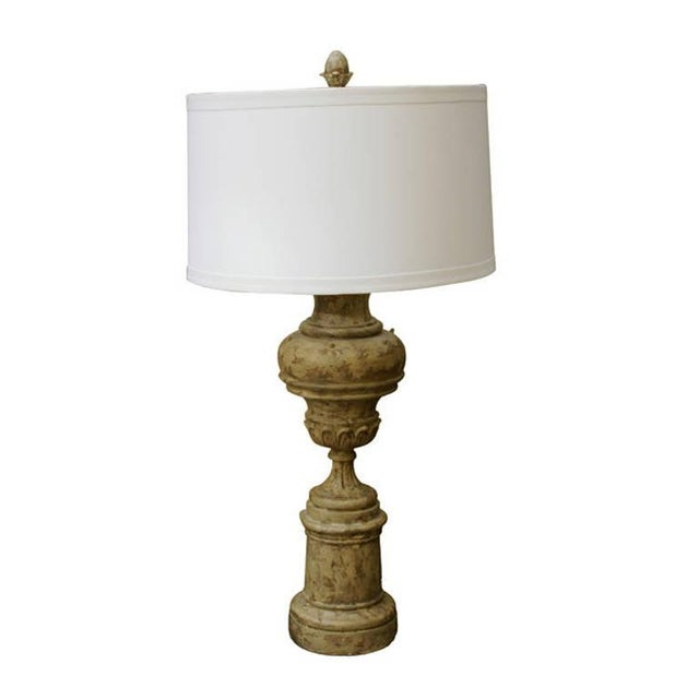 Greiged Carved Baluster Table Lamp - Image 1 of 8