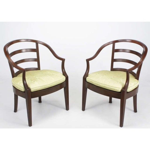 Pair Bert England For Baker Mahogany Barrel Back Arm Chairs - Image 4 of 10