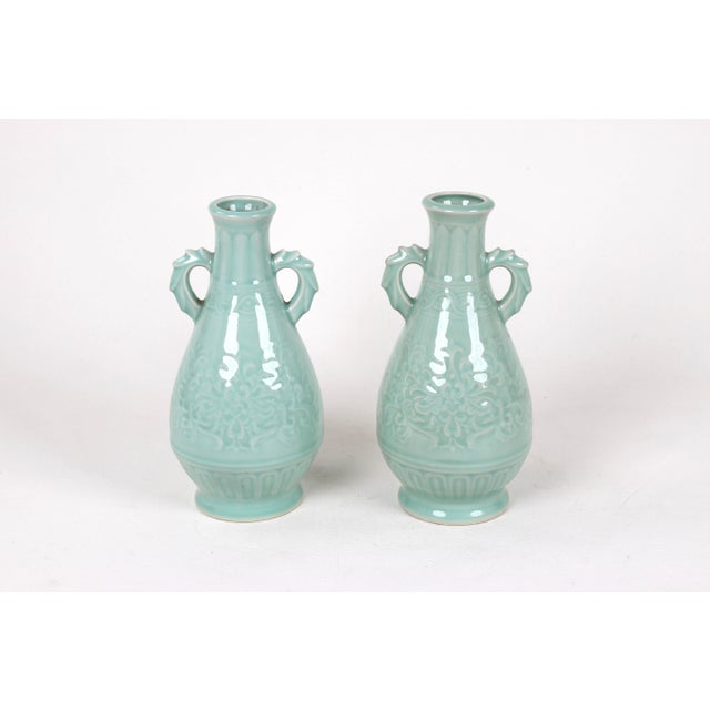Ceramic Vintage Celadon Pear Shaped Porcelain Vase For Sale - Image 7 of 13
