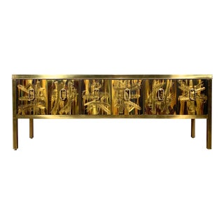 Bernhard Rohne Acid Etched Brass Credenza for Mastercraft 1970's For Sale